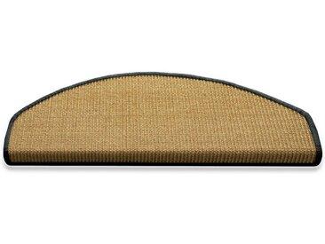Floordirekt Stufenmatte »Salvador Natur mit farbiger Kettelung«, Halbrund, Höhe 6 mm, 100% Sisal, 1A, grau, Dunkelgrau
