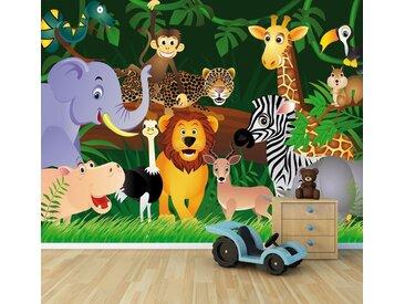 Bilderdepot24 Deco-Panel, Fototapete Kindertapete Wilde Tiere im Dschungel - Cartoon, bunt, Farbig