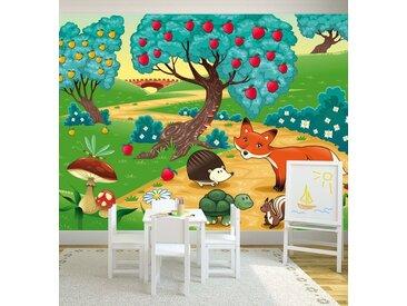 Bilderdepot24 Fototapete, Kinderbild Tiere im Wald, selbstklebendes Vinyl, bunt, Kinderbild Tiere im Wald, bunt