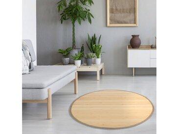 Homestyle4u Teppich, rund, Höhe 17.00 mm, Bambusteppich mit rutschfester Unterseite, beige, Natur