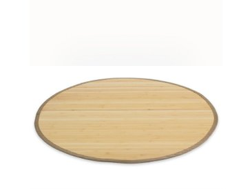 Homestyle4u Teppich, rund, Höhe 17 mm, Bambusteppich mit rutschfester Unterseite, natur, Natur