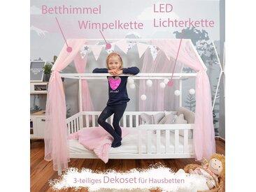 Alcube Kinderbett »Hausbett Deko Set«, Dekoration für Hausbetten mit Baldachin Lichterkette und Wimpel, rosa, Rosa