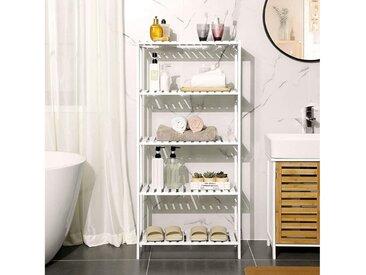 SONGMICS Standregal »BCB35WT«, Badezimmerregal, aus Bambus, weiß