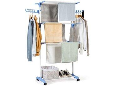 COSTWAY Wäscheständer »Wäschetrockner Standtrockner Kleiderständer«, rollbar, mit Faltregalen, Schuhablage, schwenkbaren Haken, blau, Eisenrohr und PP