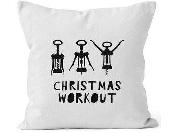 MoonWorks Dekokissen »Kissenbezug Weihnachten Christmas Workout Flaschenöffner Korkenzieher Wein trinken lustig Fun ®«, weiß, weiß