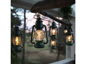 STAR TRADING LED-Lichterkette »LED Lichterkette Laterne 8 grüne Laternen warmweiße LED L: 2,8m outdoor mit Haken«, 8-flammig
