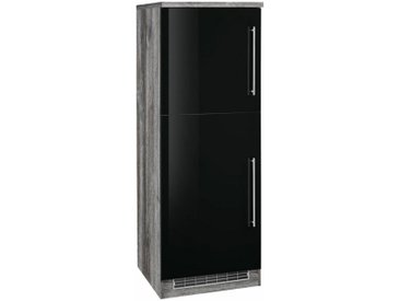 HELD MÖBEL Kühlumbauschrank »Samos« 60 cm breit, schwarz, Folienbeschichtung-melaminbeschichtet, schwarz Hochglanz