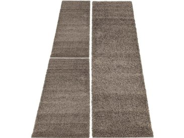 Carpet City Bettumrandung »Shaggi uni 500« , höhe 30 mm, (3-tlg), braun, mokka