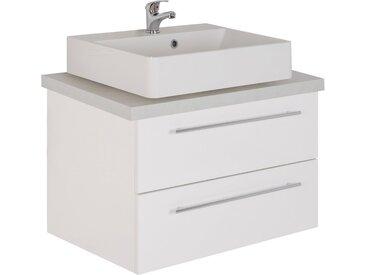 MARLIN Waschtisch »Laos 3110«, Breite 80 cm, Becken mittig, weiß, Aufsatzbecken »INGA«, Mineralmarmor