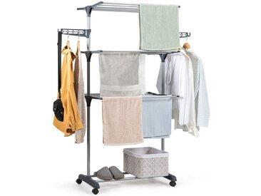 COSTWAY Wäscheständer »Wäschetrockner Standtrockner Kleiderständer«, rollbar, mit Faltregalen, Schuhablage, schwenkbaren Haken, grau, Eisenrohr und PP