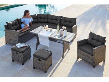 KONIFERA Loungeset »Keros Premium«, (20-tlg), Ecklounge, 2 Hocker, Sessel, Tisch 145x75 cm, Polyrattan, inkl. Auflagen, grau, anthrazit, braun, grau