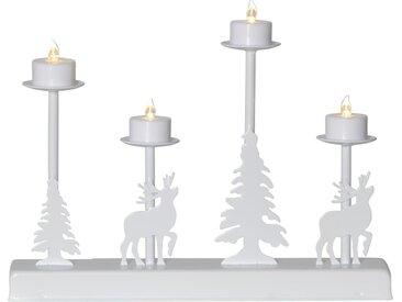 """STAR TRADING Kerzenleuchter »LED-Leuchter """"Walder"""" - 4flammig - warmweiße LED - L: 32cm, H: 25cm - Timer - Batterie - weiß«"""