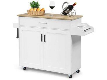 COSTWAY Küchenwagen »Kücheninsel Küchenschrank Servierwagen Kücheninselwagen«, mit Handtuchhalter und Gewürzboard, mit Schublade und höhenverstellbare Ablage