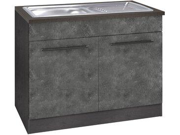 HELD MÖBEL Spülenschrank »Tulsa« 100 cm breit, 2 Türen, schwarzer Metallgriff, hochwertige MDF Front, inkl. Einbauspüle aus Edelstahl, grau