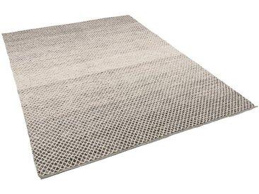 Pergamon Wollteppich »Baumwolle Natur Kelim Teppich Sandy Meliert«, Rechteckig, Höhe 8 mm, Schwarz Weiss