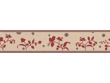 A.S. Création Bordüre »Only Borders«, aufgeschäumt, Retro, mit Blumen, floral, selbstklebend, bunt, hellgelb-hellgrau-rot