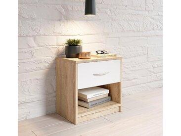 Nachttisch, Breite 39 cm, natur, struktureichefarben hell/weiß