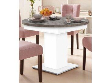 Esstisch, mit Auzugsfunktion in 2 Größen, weiß, Mittelauszug mit Einlegeplatte, weiß-vintage
