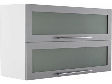 HELD MÖBEL Glashängeschrank »Samos« mit 2 Klappen, grau, alu/weiß