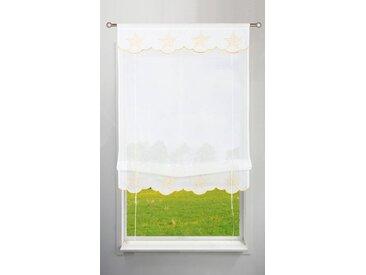 my home Bändchenrollo »Sterne«, mit Stangendurchzug, weiß, weiß-goldfarben