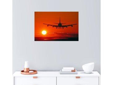 Posterlounge Wandbild, Boeing 747 im Abendrot, Premium-Poster
