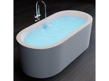 TroniTechnik Badewanne »Freistehende Badewanne Piperi«, (1-tlg), aus glasfaserversärktem Acryl, mit Überlauf-Ablauf und Push-to-open Abfluss