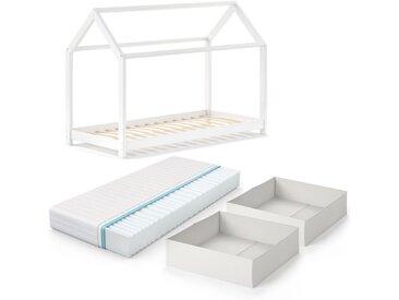 VitaliSpa® Kinderbett »WIKI 90x200 cm Weiß Schlafplatz Faltboxen Hausbett Kinderhaus + Matratze«