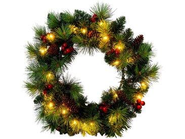 näve LED-Leuchtzweig »LED-Weihnachtskranz mit Beeren und Tannenzapfen - d: 35cm«, 20-flammig, Timer
