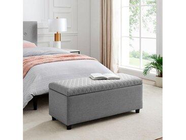 Leonique Bettbank »Fabrice«, Sitzfläche gesteppt, mit Strauraum, grau, hellgrau