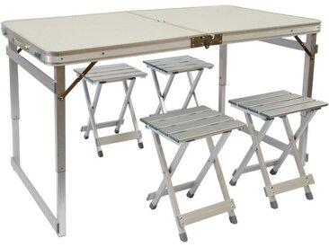 AMANKA Campingtisch »Klappbarer stabiler Campingtisch+4 Falt-Hocker«, Tischset 120x70x70cm