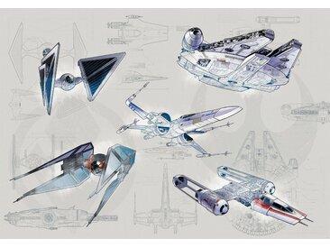 Komar Fototapete »Star Wars Blueprint Light«, glatt, mehrfarbig, Weltall, futuristisch, (Packung)