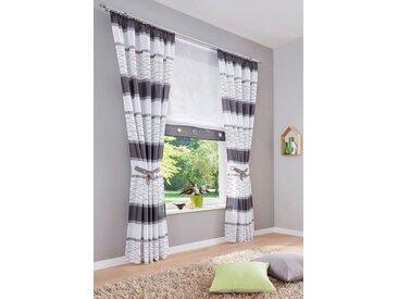 my home Vorhang »Maria«, Kräuselband (2 Stück), Fertiggardine, Gardine, Inkl. 2 Raffbänder, halbtransparent, grau, grau