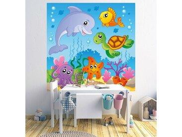 Bilderdepot24 Fototapete, Kinderbild Unterwasser Tiere III, selbstklebendes Vinyl, bunt, Kinderbild Unterwasser Tiere III, Farbig