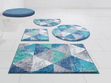 GRUND exklusiv Badematte »Curati« , Höhe 20 mm, rutschhemmend beschichtet, strapazierfähig, weiche Haptik, blau, blau-türkis