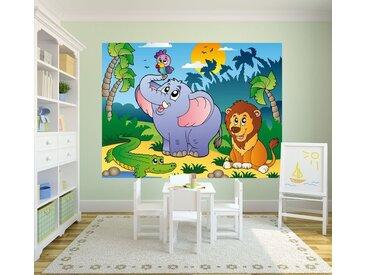 Bilderdepot24 Fototapete, Kinderbild Afrikanische Tiere, selbstklebendes Vinyl, bunt, Kinderbild Afrikanische Tiere, Farbig