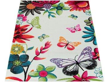 Paco Home Teppich »ECE 954«, rechteckig, Höhe 14 mm, Kurzflor, Kinder Teppich mit Schmetterling Design