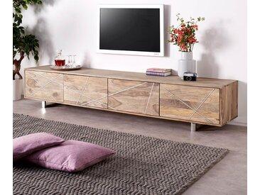 DELIFE TV-Board »Wyatt«, Sheesham Natur 220 cm 4 Türen Edelstahl Design Lowboard