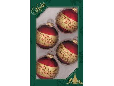 Krebs Glas Lauscha Weihnachtsbaumkugel »Merry Christmas« (4 Stück)