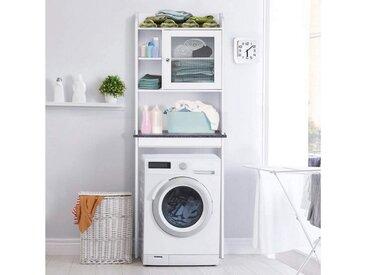 COSTWAY Badregal »Badregal Waschmaschinenregal weiß«, mit verstellbarem Regal, weiß, MDF, Glas, weiß