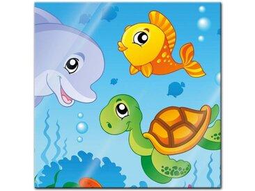 Bilderdepot24 Glasbild, Glasbild - Kinderbild Unterwasser Tiere III