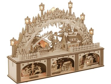 Schwibbogen, mit Unterbau und Weihnachtsmarkt, 45 x 33 cm