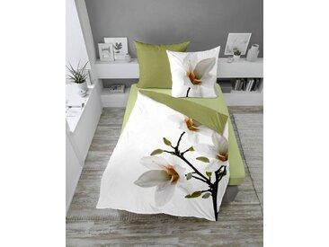 Dormisette Bettwäsche »Mako-Satin Wende-Bettwäsche MAGNOLIE«, Magnolienblüten auf frischem weiss
