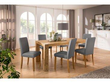 Home affaire Essgruppe »Silje«, (Set, 7-tlg), bestehend aus 6 Lucca Stühlen und dem Maggie Esstisch, grau, Graufarbener Stuhlbezug