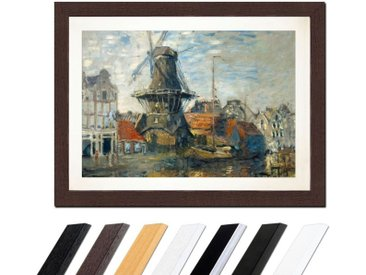 Bilderdepot24 Wandbild, Claude Monet - Windmühle am Onbekende Kanal, Amsterdam, bunt, Wenge