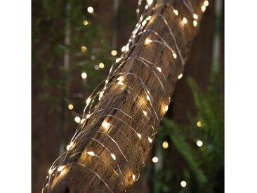 "MARELIDA LED-Lichterkette »LED Solar Lichterkette ""Dew Drop"" - 200 warmweiße LED - silberner Draht - L: 20m - Dämmerungssensor«, 200-flammig"