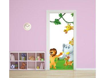 Bilderdepot24 Türtapete, Kinderbild Tiere Cartoon III, selbstklebendes Vinyl