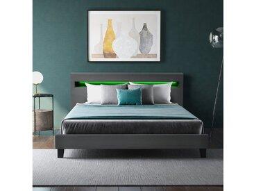 Merax Polsterbett, mit LED-Beleuchtung & Lattenrost, Kunstleder, Doppelbett, grau, Grau