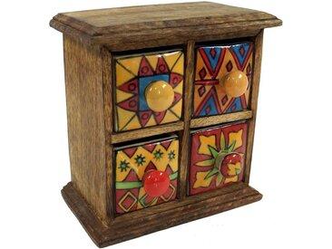 Guru-Shop Aufbewahrungsdose »Apothekerschränkchen mit bunten Keramik..«