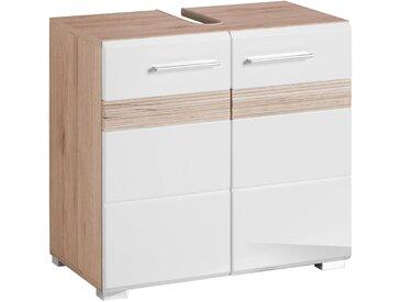 trendteam Waschbeckenunterschrank »Tone« mit zweifarbiger Front, weiß, eichefarben San Remo hell/weiß Hochglanz