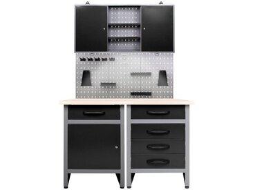 ONDIS24 Werkstatt-Set 120 cm, schwarz, 85 cm, anthrazit/schwarz-grau